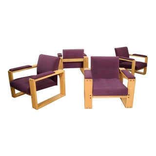 Modern Open Frame Club Chair With Floating Seat in Oak and Aubergine Fabric For Sale