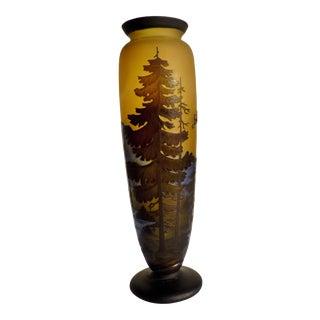 Vintage Mid-Century Hand-Blown Glass Art Nouveau Vase Signed by Galle For Sale