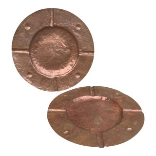 1920s Arts & Crafts Hammered Copper Chargers - a Pair For Sale