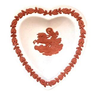 Wedgwood Jasperware Terracota and White England Wedgewood Miniature Heart Sun God Tray Antique For Sale