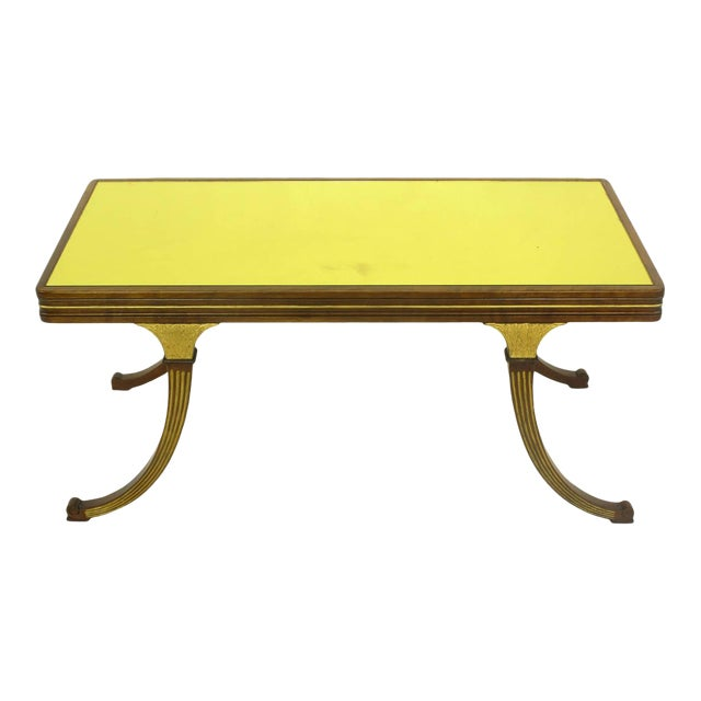 Early 1900s Parcel-Gilt and Walnut Empire Coffee Table With Gold Mirror Top For Sale
