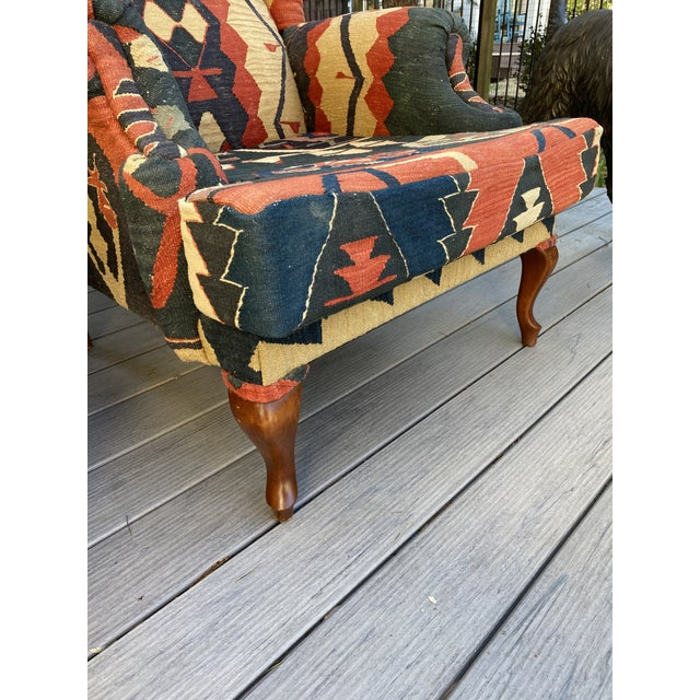 Kilim Wingback Chairs - a Pair For Sale - Image 12 of 13