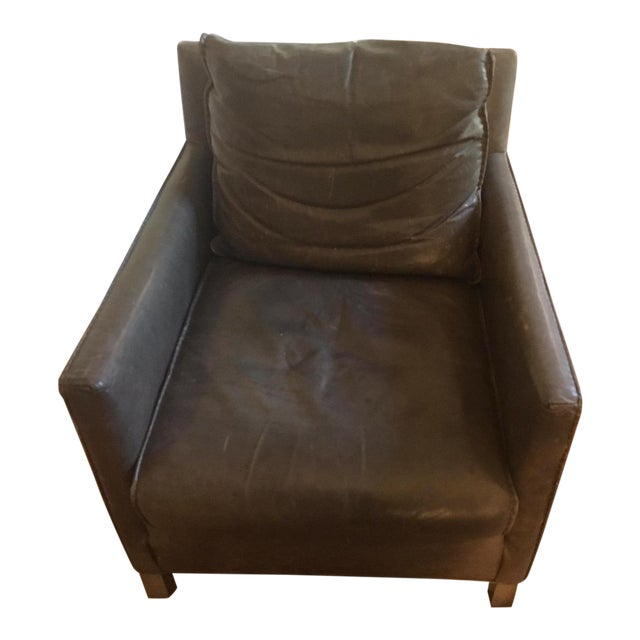 Room & Board Smoke Leather Bram Chair - Image 1 of 5