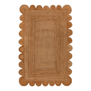 Natural Color Jute Scallop Handmade Rug - 3'x5' For Sale
