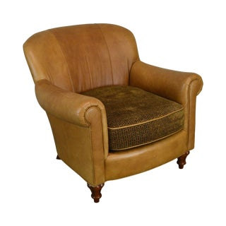 Brandon Design Collection Brown Leather Club Chair For Sale