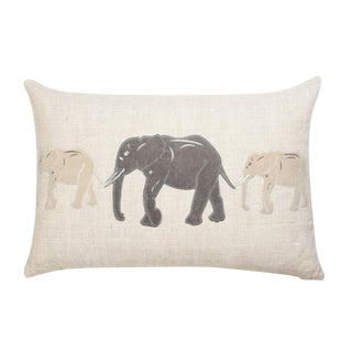 """Piper Collection Gray """"Big Al"""" Elephant Linen Pillow For Sale"""