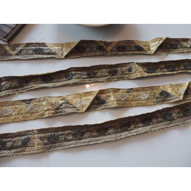 Regency 19th Century Set of (4) Tarnish Gold Metallic Woven Decorative Trims For Sale - Image 3 of 7