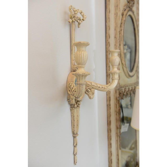 Blue Pair of 19th Century Carved Wood Sconces Centered by Wedgewood Bisque Plaques For Sale - Image 8 of 10