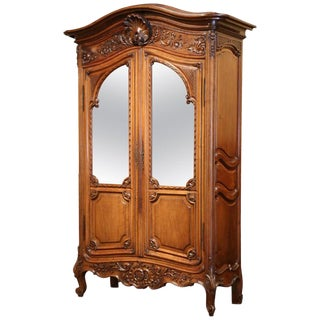 Late 19th Century French Louis XV Carved Walnut Armoire Bookcase From Provence For Sale