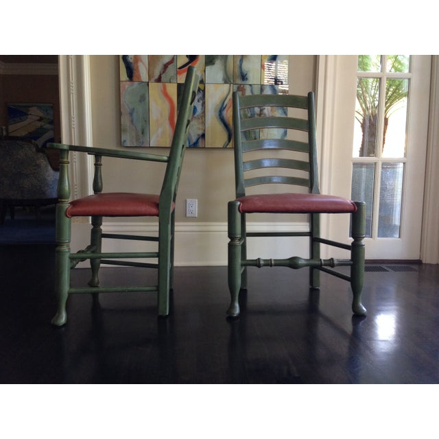 English Walnut Ladder Back Chairs - Set of 6 - Image 2 of 6
