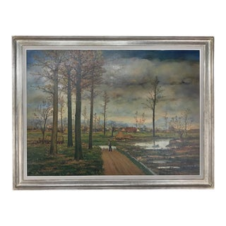 Large Mid-Century Framed Oil Painting on Canvas by Fr. De Roover For Sale