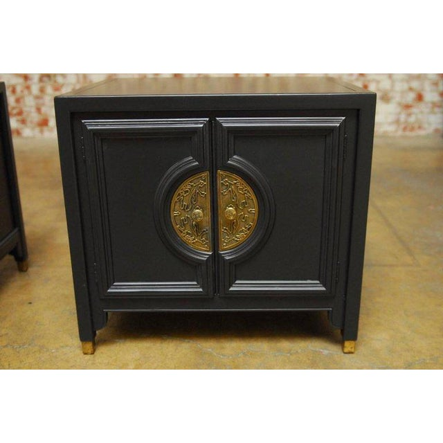 James Mont Style Century Furniture Lacquer Nightstands - a Pair - Image 6 of 10