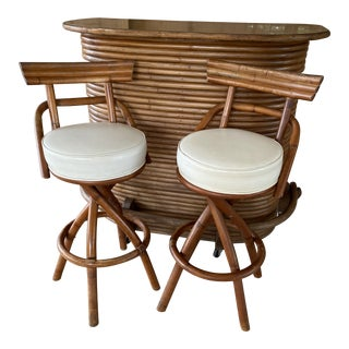 Vintage Paul Frankl Stacked Rattan Bar and Pair Stools For Sale