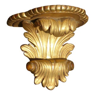 Vintage Small Ornate Wood Gold Leaf Scroll French Style Wall Decor Sconce For Sale
