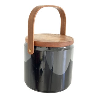 1960s Mid-Century Black and Walnut Ice Bucket by Georges Briard For Sale