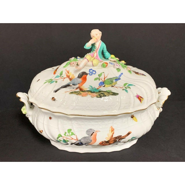 Antique 1750 Meissen Porcelain Tureen with Birds, Insects, Flowers and Boy Finial For Sale - Image 13 of 13