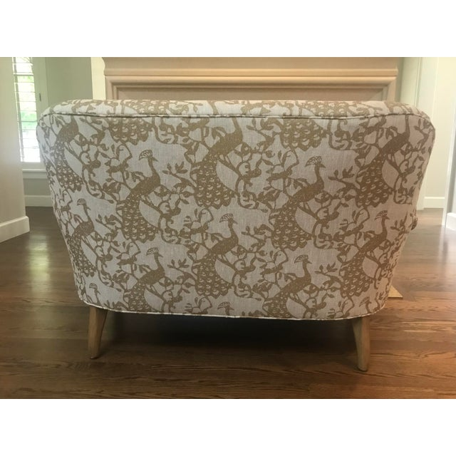 Lee Industries Traditional Lee Industries Taupe Peacock Print Loveseat For Sale - Image 4 of 9