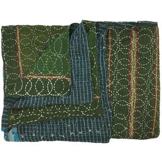 Circular Stitch Vintage Kantha Quilt For Sale