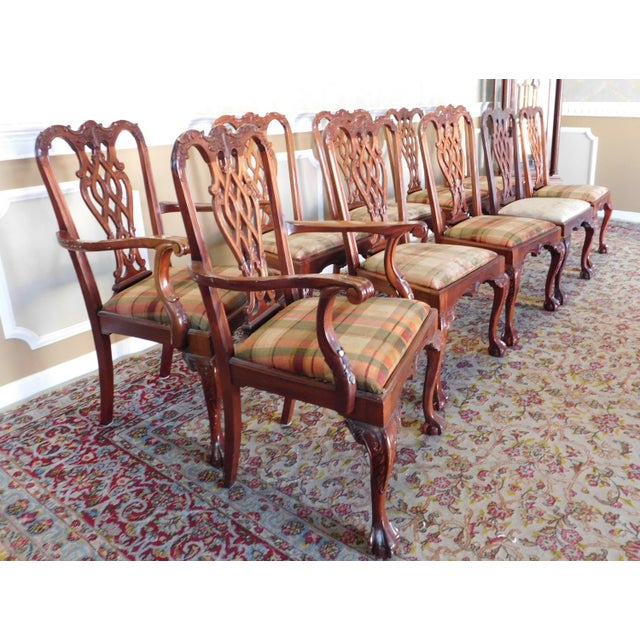 1990s Reproduction Solid Mahogany Chippendale Style Dining Chairs - Set of 10 For Sale - Image 4 of 11