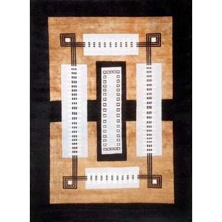 Art Deco Architectural Hand Woven Wool Rug For Sale