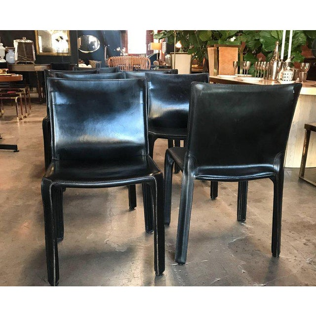 1980s Cassina Chairs, Model Cab Nr. 412, Mario Bellini in Black Leather, Set of Eight For Sale - Image 5 of 9