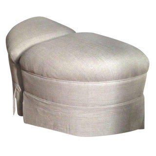Upholstered Crescent Shape Ottomans on Casters - A Pair For Sale