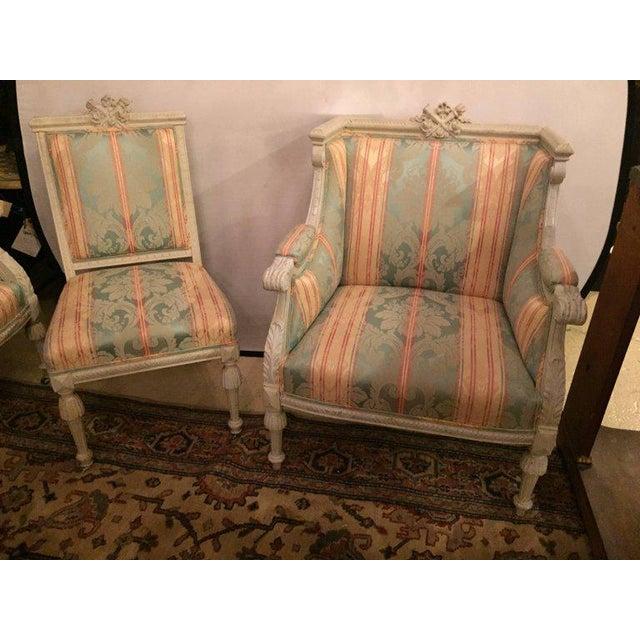Swedish Fashioned Louis XVI Style Salon Suite, Off-White Paint Decorated Finish - Image 5 of 10