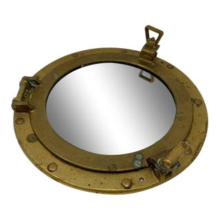 Vintage Brass Porthole Mirror With Patina For Sale