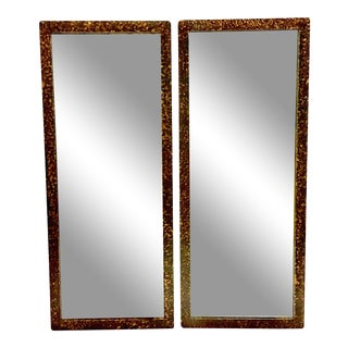 1950's Phyllis Morris Style Gilt Wood Faux Tortoise Rectangular Mirrors - a Pair For Sale