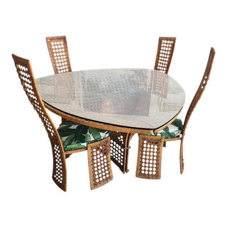 Danny Ho Fong Rattan & Wicker Dining Set Table Chairs For Sale