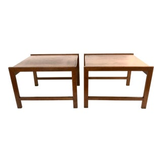 1950s Mid Century Modern John Stuart Walnut Side Tables - a Pair For Sale