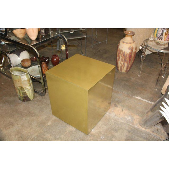 Gold Contemporary Bridges Over Time Originals Brass Coated Cube Table For Sale - Image 8 of 9