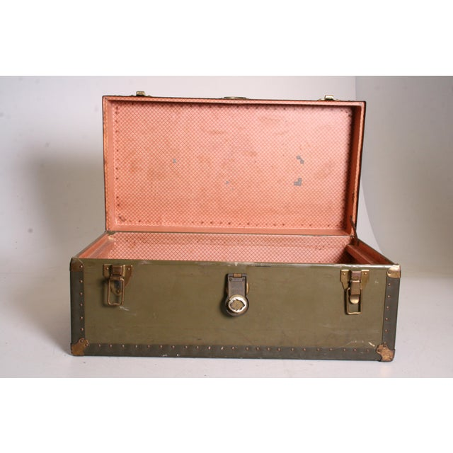 Vintage Industrial Green Military Foot Locker Trunk with Tray - Image 11 of 11