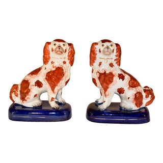 Pair of 19th C. Staffordshire Spaniels on Bases For Sale