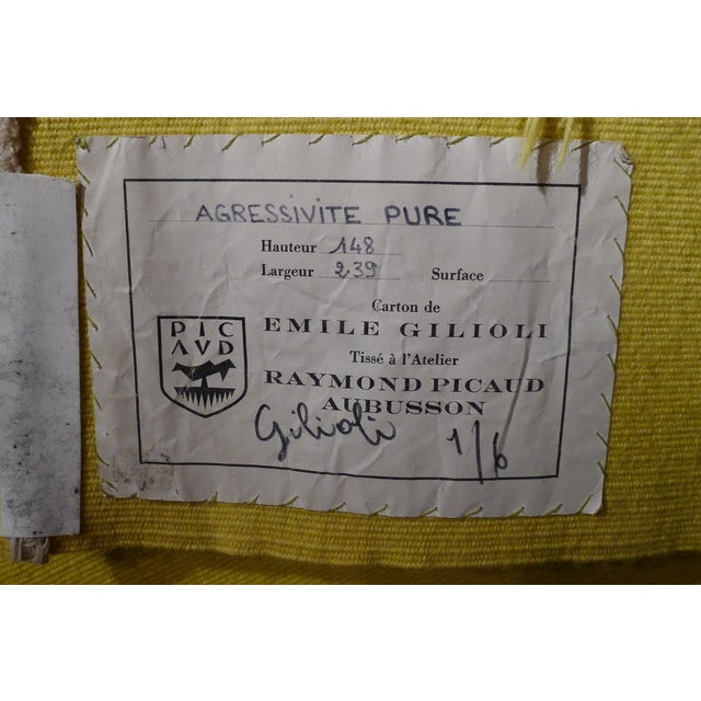 """Handwoven Geometrical Tapestry Designed by Émile Gilioli - """"Agressivité Pure"""" For Sale - Image 4 of 5"""
