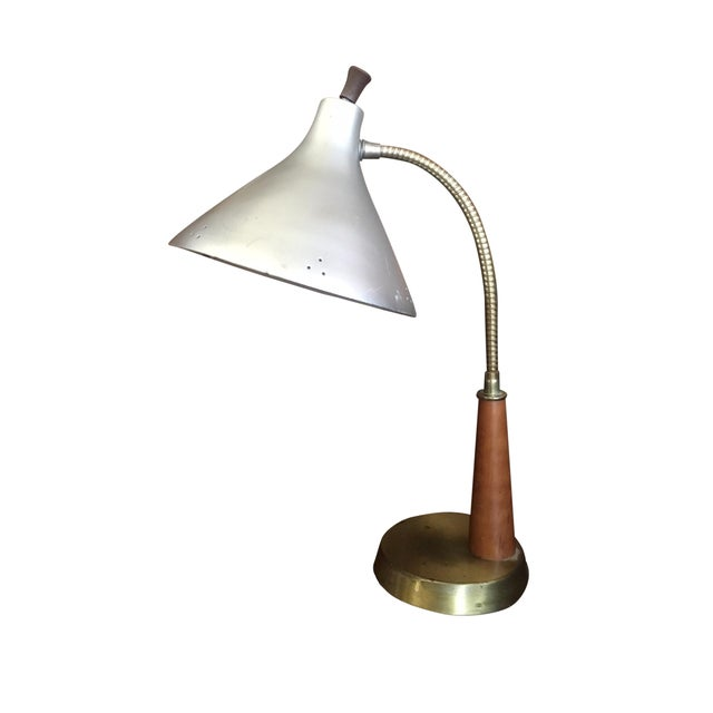 Vintage Metal & Wood Industrial Desk Lamp - Image 1 of 4