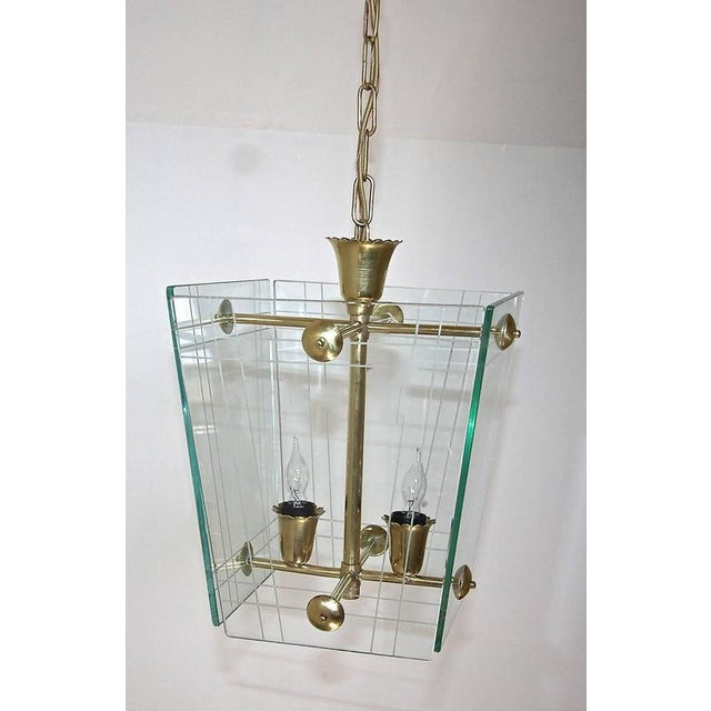 1950s 1950s Italian Fontana Arte Style Hall Entry Glass Pendant For Sale - Image 5 of 13