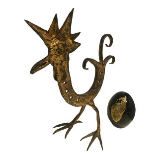 1950s Abstract Italian Gilt Iron Rooster & Glass Egg - 2 Pieces For Sale