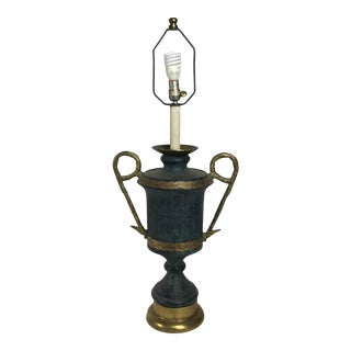 1970s Monumental Solid Bronze Sculptural Regency Table Lamp For Sale