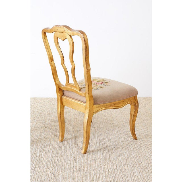 Set of Four Italian Giltwood Venetian Style Dining Chairs For Sale - Image 11 of 13