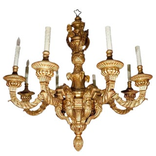 French Style Giltwood Chandelier With 8-Arms For Sale