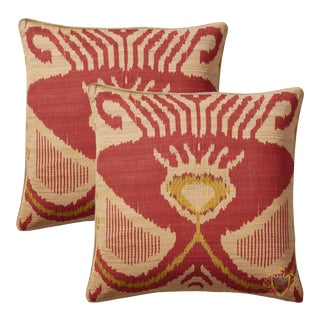 Burnt Red Silk and Cotton Ikat Accent Pillows - a Pair For Sale