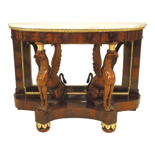 19th Century Russian Neoclassical Mirrored Gilt Mahogany Console For Sale