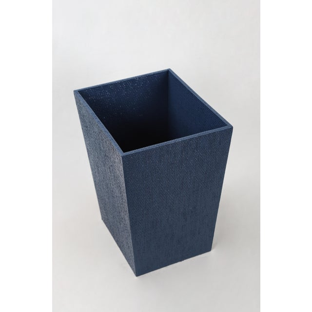 English Traditional Blue Linen Covered Waste Basket For Sale - Image 3 of 7