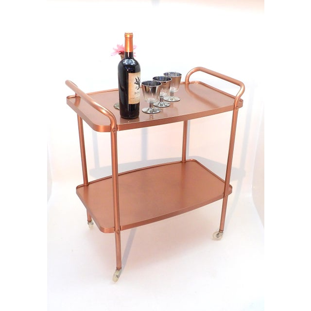 Mid 20th Century Mid-Century Modern Rose Gold Rolling Bar Cart For Sale - Image 5 of 10