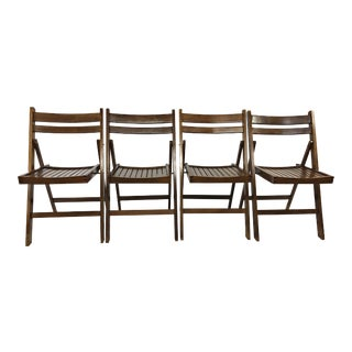 Vintage Rustic Wood Folding Chairs - Set of 4 For Sale