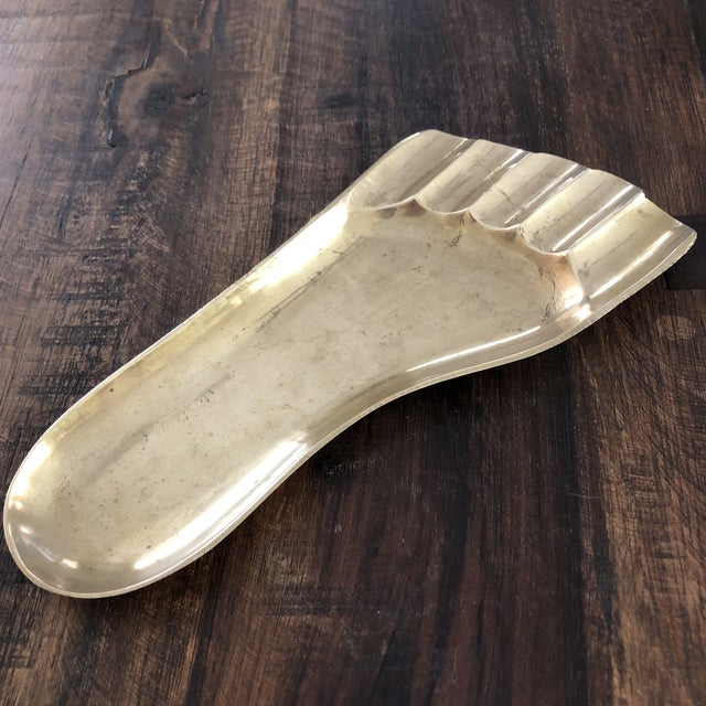 1950s Vintage Contemporary Solid Brass Human Foot Tray For Sale - Image 5 of 7