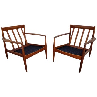 Grete Jalk for France & Daverkosen Teak Lounge Chairs - A Pair For Sale