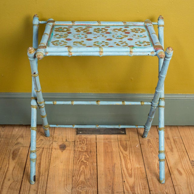 Gold Antique Painted Tray Table For Sale - Image 8 of 13