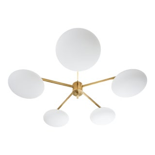 Stella Daisy - Angelo Lelli Style Brass and Opaline Ceiling Lamp For Sale